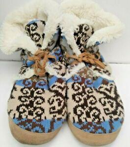Original Muk Luks Memory Foam Furry Slipper Shoes X LARGE 9.5/10.5 Rubber Sole