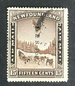DF456 NEWFOUNDLAND 1933 Overprinted issue 15c Chocolate SG 229  used