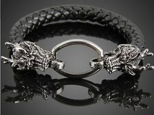 BLACK FAUX LEATHER DRAGON WRISTBAND WRIST STRAP BAND BRACELET CUFF STEAMPUNK A70
