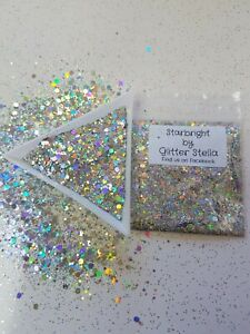 Nail Art Mixed Glitter ( Star Bright Silver )10g Bag Holographic Chunky Festival