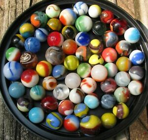 63 Mixed Vintage Machine Made Marbles, Peltier, Master, Akro, Well Played, NR!
