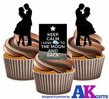I Love You to the Moon and Back Silhouette Love Mix 12 Edible Cup Cake Toppers