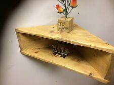 Wooden Rustic Solid  HANDMADE CORNER Shelf Unit Two Tier Triangle Shape