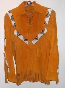 XL NEW BEADED SUEDE LEATHER JACKET W/ FRINGE Coat mountain Man Indian Western