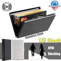 Stainless Steel ID Credit Card Holder Case Slim RFID Blocking Anti-scan Wallet