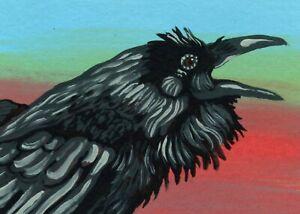 ACEO ATC Original Miniature Painting Raven Crow Bird Wildlife Art-Carla Smale