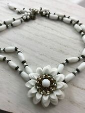 Vintage Signed Miriam Haskell Layered Milk Glass Necklace