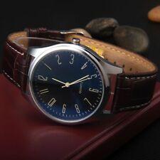 Fashion Men Women Analog Sport Wrist Stainless Steel Case Leather Quartz Watch