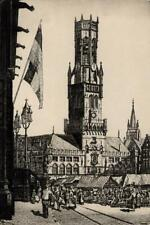 JAMES P POWER Signed Etching THE BELFRY BRUGES - 20TH CENTURY