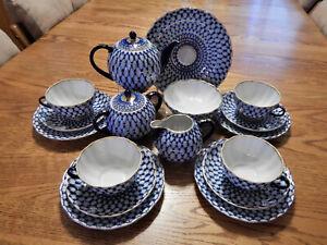 Vintage Lomonosov Russian Cobalt Net Tea Set plus Candy Dish