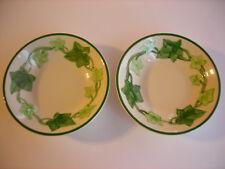 "Lot Set 2 Franciscan Earthenware Berry Bowls Green Ivy Fruit Dessert 5 3/8"" Nice"