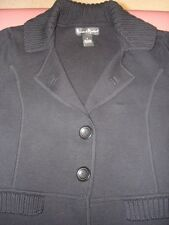 Women's Mercer & Madison Black 100% Cotton Sweater Jacket - sz Large