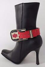 Western Women Metal Buckle Boot Bracelet High Heel Shoe Charm Bling Red Strap