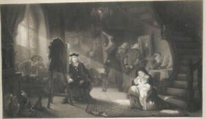 Eau-forte Gravure XIX Scène d'Atelier par A. Martinet d'après REMBRAND 66x90 cm