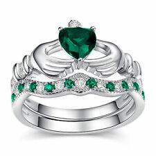 14k White Gold 1.10 CT Natural Emerald & Diamond Claddagh Wedding Ring Set