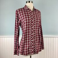 Size Large L Eddie Bauer Women's Red Plaid Flannel Shirt Button Up Top Blouse