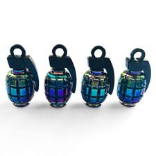 Rainbow neon Grenade 4pc Alloy Car Truck Bike Tyre Valve Caps Covers Accessories