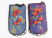Beaded Mini Purse, Shoulder Strap, Red Floral Embroidery, Zip Closure #CHBP06