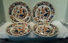 A Nice Set Of Four Booths Dovedale Brown and Cobalt Dinner Plates