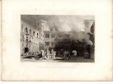 Thomas Allom Écossais Imprimé-La Cour intérieure, Palais de Linlithgow (c1840)