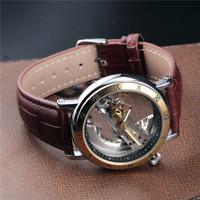 Skeleton Men's Steampunk Automatic Mechanical Transparent Antique Leather Watch