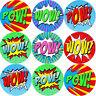 144 Superhero POW WOW Comic Themed Teacher Reward Stickers - Size 30 mm