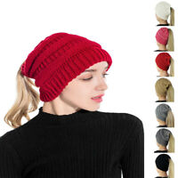 Hat Knit Messy Bun Stretchy Women High Ponytail Beanie Beanietail Skull