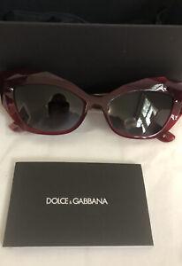 NIB Dolce & Gabbana 54 mm Cat Eye Sunglasses Bordeaux DG6123 1551 BG