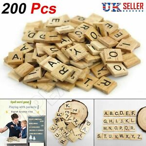 200 Wooden Scrabble Crafts Tiles Mix Black Letters Numbers Alphabets Board Game.