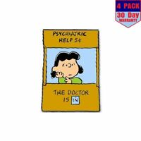 Lucy Doctor Is In Peanuts Snoopy 4 Stickers 4x4 Inch Sticker Decal