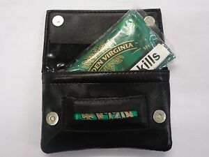 Soft Leather Tobacco Pouch Organizer Black with Space for Money and Cards