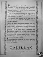 PUBLICITÉ 1928 CADILLAC LA PREMIÈRE MARQUE DU MARCHÉ MONDIAL DE L'AUTOMOBILE