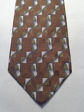 MONDO DI MARCO MENS TIE BROWN WITH GREEN MADE IN ITALY 60.5 x 3.75