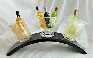 SET OF 3 ACRYLIC MINI WINE CHILLER BOTTLE STOPPERS & DISPLAY STAND BARWARE TOOL