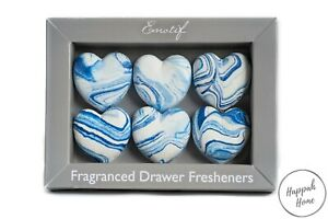 Scented Decorative Drawer Fragrance Heart Stone Pack of 6 Sea Lily Scent Gift UK