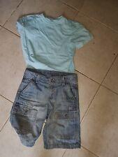 bermuda jean okaidi et t shirt turquoise TCF 5 ANS et chemise provençale
