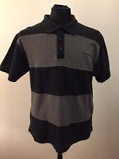 Mens Pierre Cardin Black & Grey Stripe Polo Shirt Size XL more like L