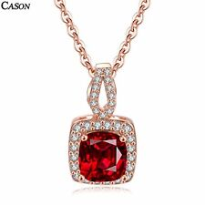 Simple Square Red Crystal Chain Pendant Necklace Women Rose Gold Plated Jewelry