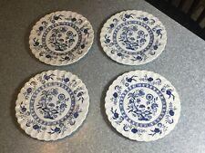 "J & G MEAKIN England CLASSIC Blue Nordic Blue Onion FOUR 7"" SALAD PLATES"
