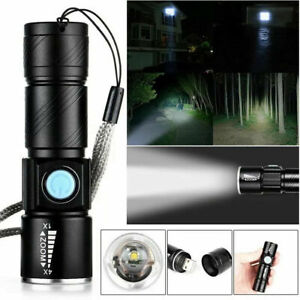 USB Rechargeable Mini Handheld LED Tactical Pocket Flashlight Bright Torch Lamp