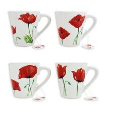 Poppy Design White Porcelain 250ml Coffee Tea Mug Mugs Set of 4