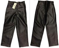 Girls PVC Trousers Black Vintage Leather Look Zip Jean Fancy Shiny Pants New