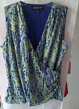 Woman's Blue/Green Print Sleeveless Blouse by Jones New York Size PM