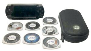 Black Sony PSP 2001 Slim w/ 7 Games & Case, Call of Duty, WWE, Works, No Charger