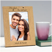 Personalised He Asked She Said Yes Engraved Wooden Photo Frame Engagement Gifts