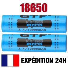 18650 >> PILE BATTERIE RECHARGEABLE 12000 mAh LI-ION 3,7 V POUR LAMPE TORCHE...
