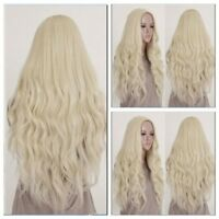 Light Blonde Long Wig Natural Curly Straight Wavy Cosplay Womens Full Hair Wigs