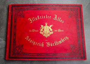 LOUIS RACHEL,ILLUSTRIRTER ATLAS DES KÖNIGREICHS WÜRTTEMBERG,KARTEN & BILDER,1891