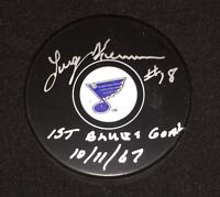 Larry Keenan St. Louis Blues Signed First Goal Ever Puck JSA Brett Hull Gretzky