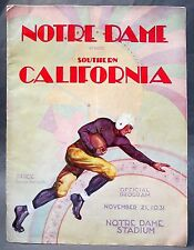 1931 USC SOUTHERN CALIFORNIA at NOTRE DAME historic football program ends streak